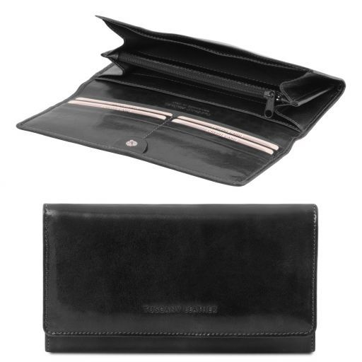 Full Grain Leather Accordion Wallet For Women_3