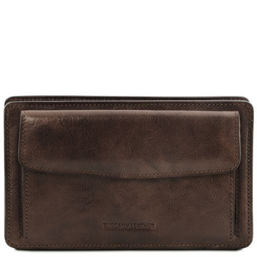 Denis Vegetable Tanned Leather Men Clutchs Organizers Wrist Bag_9