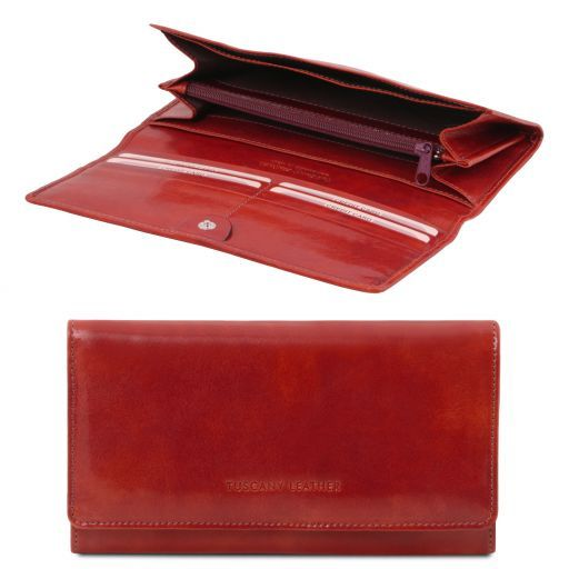 Full Grain Leather Accordion Wallet For Women_4