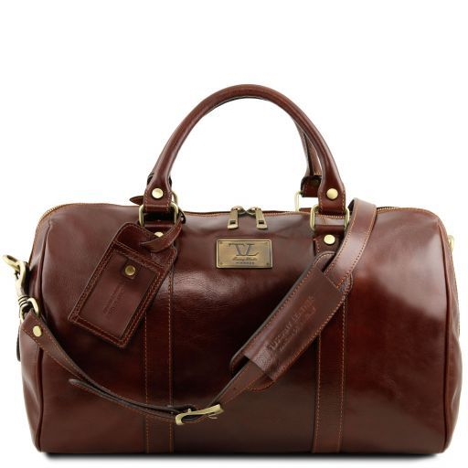 TL Voyager - Travel leather duffle bag with pocket on the back side - Small size_1