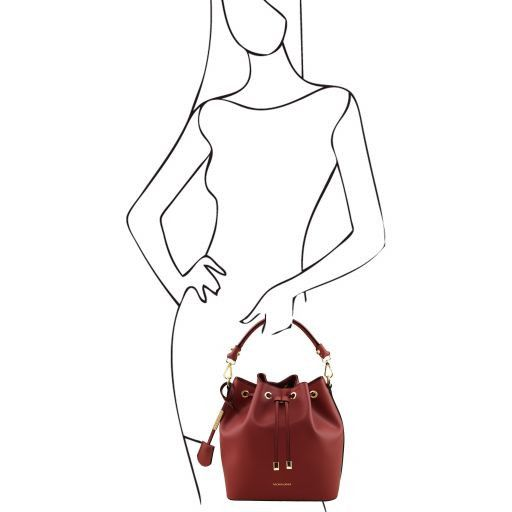 Vittoria Smooth Leather Bucket Bag_6