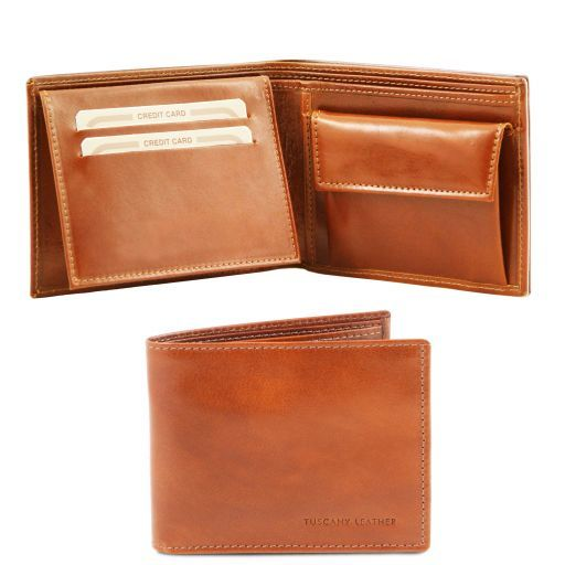 Full Grain Leather Trifold  Wallet With Coin Pocket_1