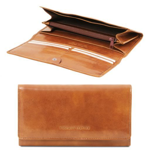 Full Grain Leather Accordion Wallet For Women_5