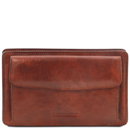 Denis Vegetable Tanned Leather Men Clutchs Organizers Wrist Bag_1