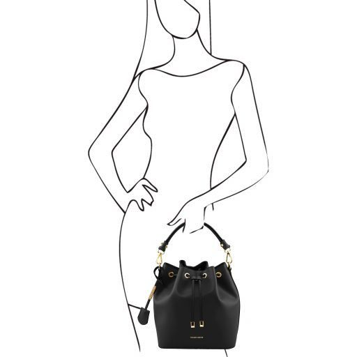 Vittoria Smooth Leather Bucket Bag_17