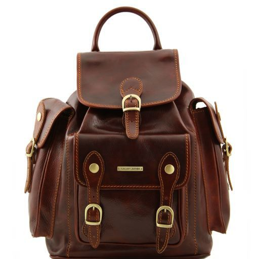 Pechino Vegetable Tanned Leather Backpack_10