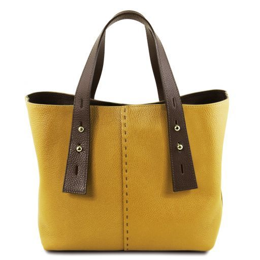 TL Hammered Leather Shopping Tote_2