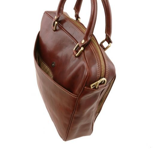 Pisa Vegetable Tanned Leather Laptop Briefcase_5