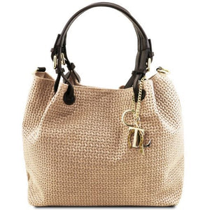 TL KeyLuck  Suede Leather Woven Shoulder Bag