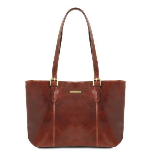 Annalisa Vegetable Tanned Leather Shopping Tote Bag_1