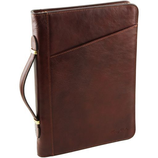Claudio Vegetable Tanned Leather  Document Case with Handle_7