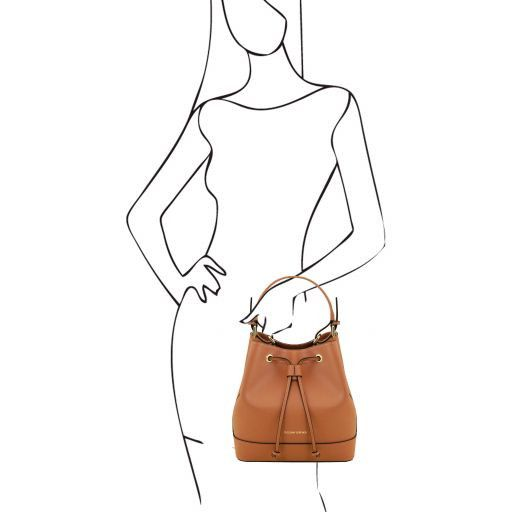 Minerva Saffiano Leather Bucket Bag_12
