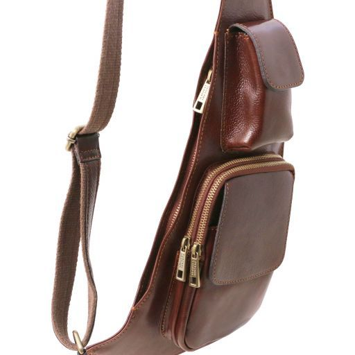 Vegetable Tanned Leather Men Crossover Messenger Bag_10