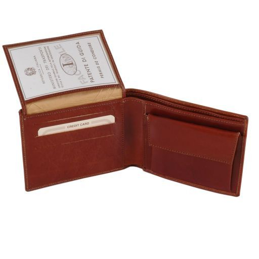 Full Grain Leather Trifold  Wallet With Coin Pocket_2