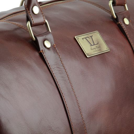 TL Voyager - Travel leather duffle bag with pocket on the backside - Large size_6
