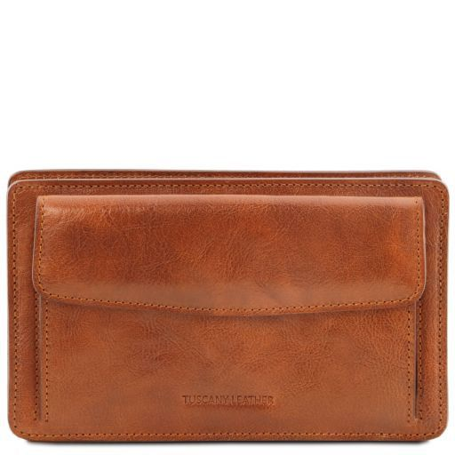 Denis Vegetable Tanned Leather Men Clutchs Organizers Wrist Bag_11