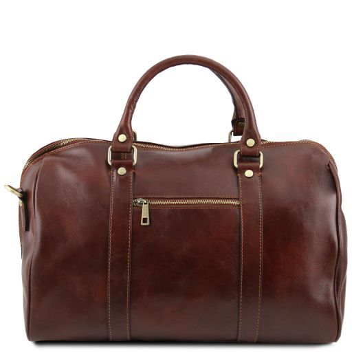 TL Voyager - Travel leather duffle bag with pocket on the back side - Small size_4