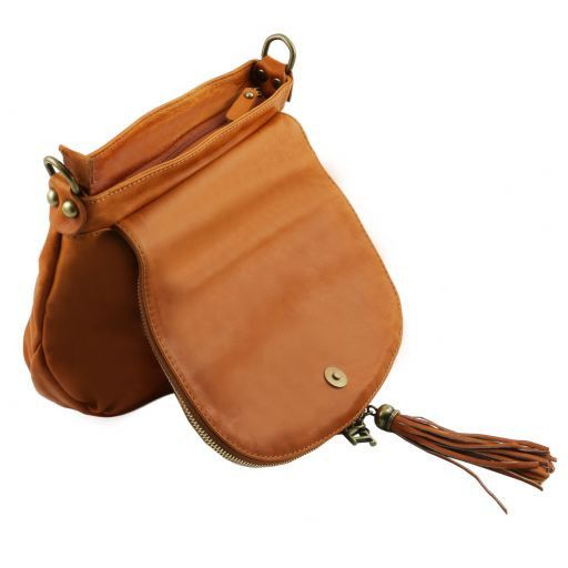 TL Soft Leather Shoulder Bag with Tassel_5