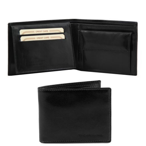 Full Grain Leather Trifold  Wallet With Coin Pocket_5