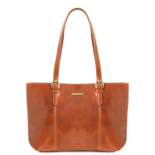 Annalisa Vegetable Tanned Leather Shopping Tote Bag_6