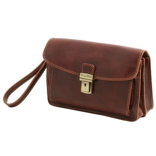 Max Vegetable Tanned Leather Men Clutchs Organizers Wrist Bag_3