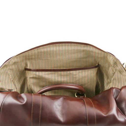 TL Voyager - Travel leather duffle bag with pocket on the back side - Small size_6