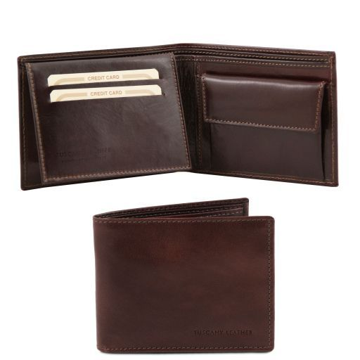 Full Grain Leather Trifold  Wallet With Coin Pocket_4
