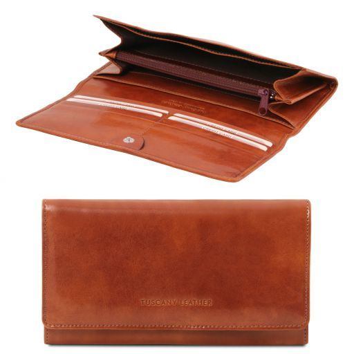 Full Grain Leather Accordion Wallet For Women_1