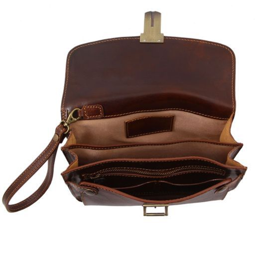 Max Vegetable Tanned Leather Men Clutchs Organizers Wrist Bag_6
