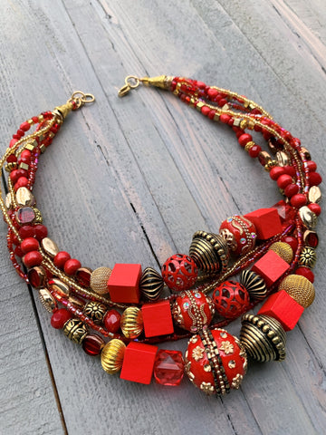 Red and Gold Beaded Necklace