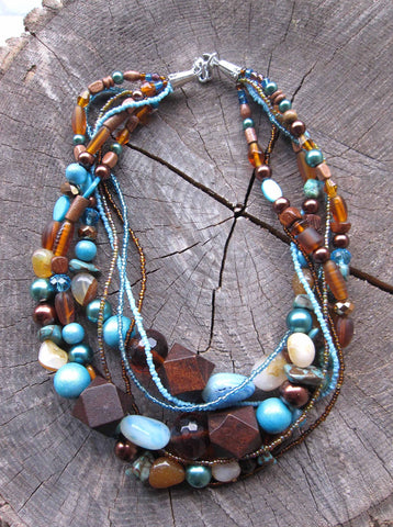 Brown and Turquoise Bead Necklace