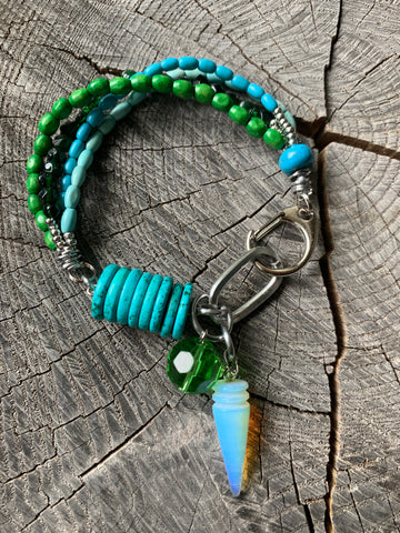 Green and Turquoise Beaded Bracelet