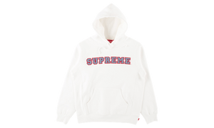 supreme cord collegiate logo hooded sweatshirt white