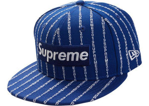 Supreme Text Stripe New Era Cap Royal