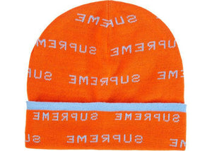 Supreme Logo Repeat Beanie Orange
