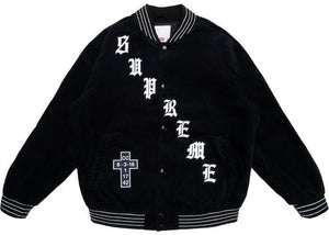 Supreme Old English Corduroy Varsity Jacket Black (Pre-Owned)