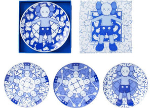 Kaws Holiday Limited Ceramic Plate (Set of 4) Blue/White