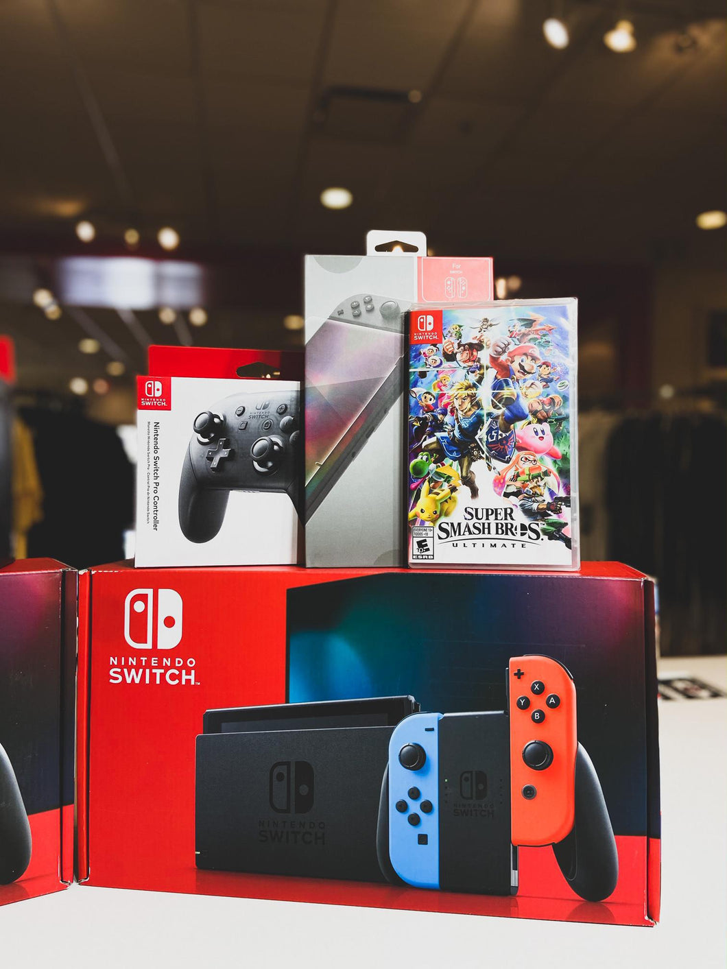 Nintendo Switch Neon Joy-Con Super Smash Bros. Ultimate and Accessories System Bundle