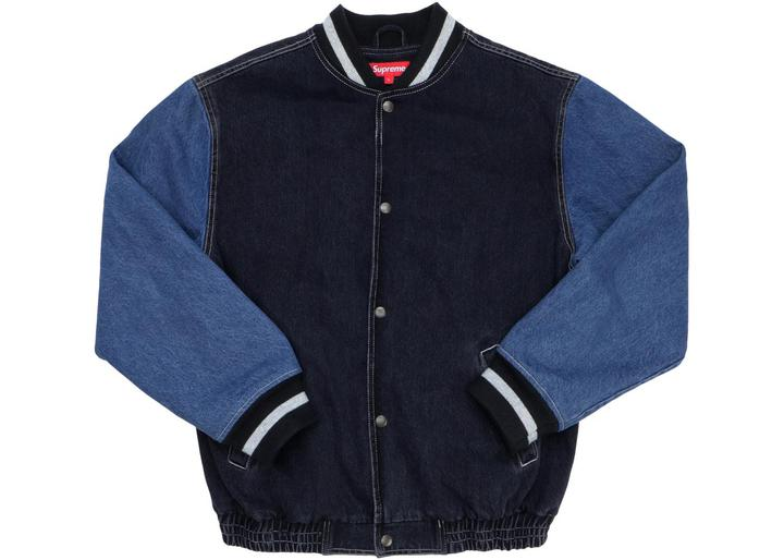 supreme denim varsity jacket black