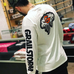 White GrailStorm X Champion Long Sleeve Tee
