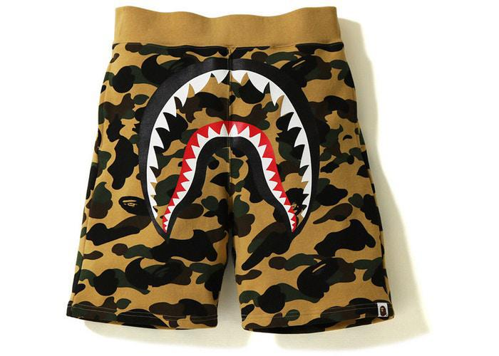 BAPE 1st Camo Shark Sweat Short Yellow