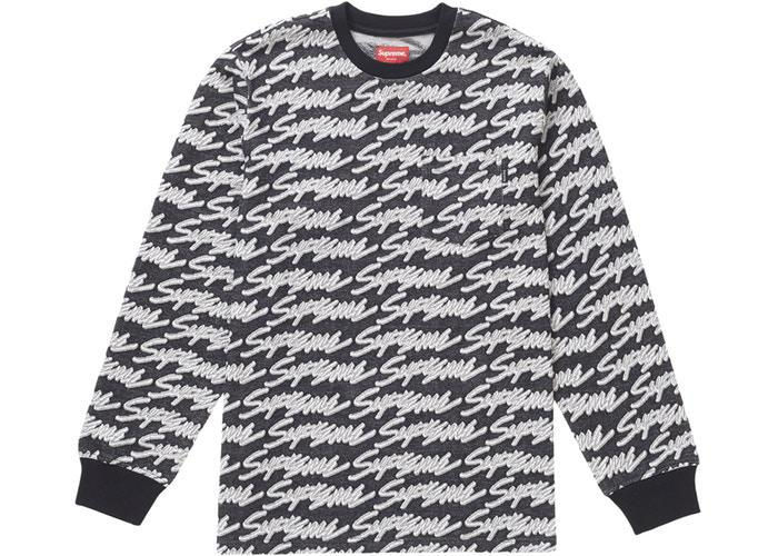 Supreme Signature Script Logo L/S Pocket Tee Black