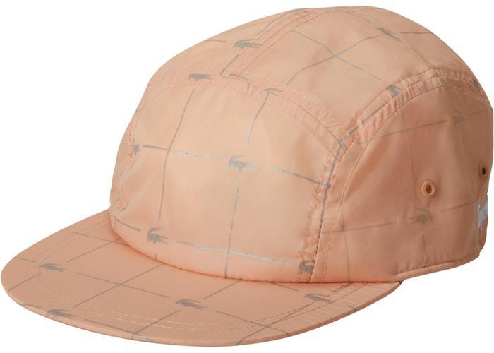 Supreme LACOSTE Reflective Grid Nylon Camp Cap Peach