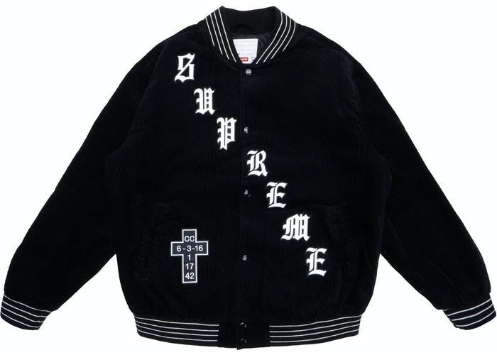 Supreme Old English Corduroy Varsity Jacket Black