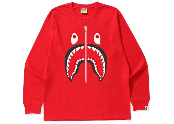 Bape Shark L/S Tee Red