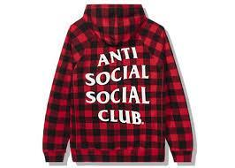 Anti Social Social Club Crossed Out Hoodie Checkered Red