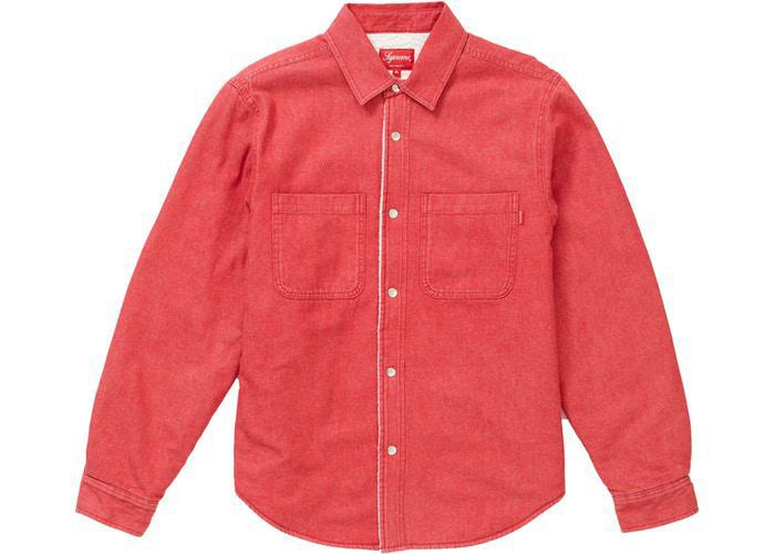 Supreme Sherpa Lined Denim Shirt Red