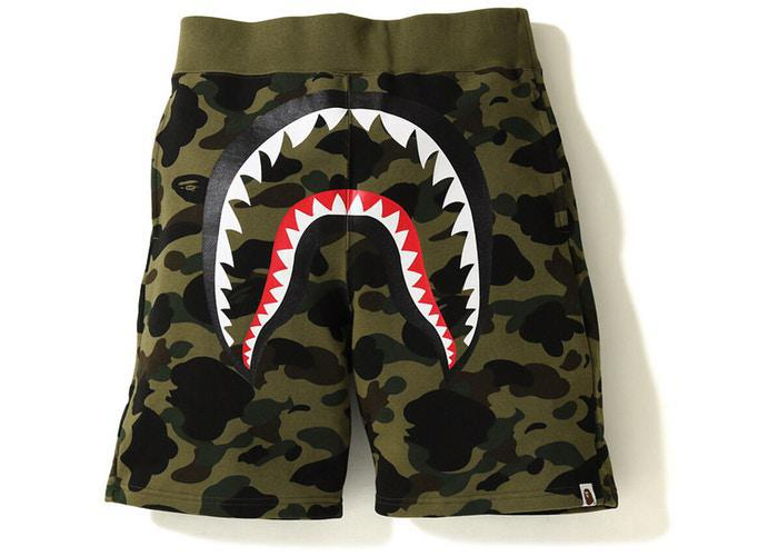 BAPE 1st Camo Shark Sweat Short Green