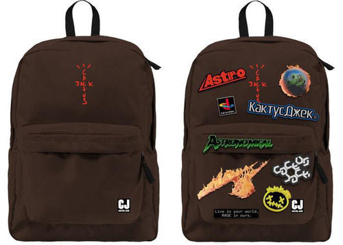 Travis Scott Cactus Jack Backpack With Patch Set Brown