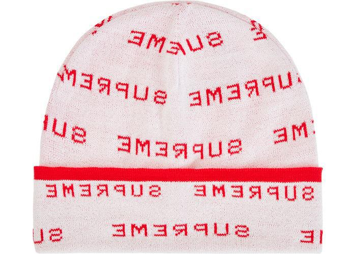Supreme Logo Repeat Beanie White